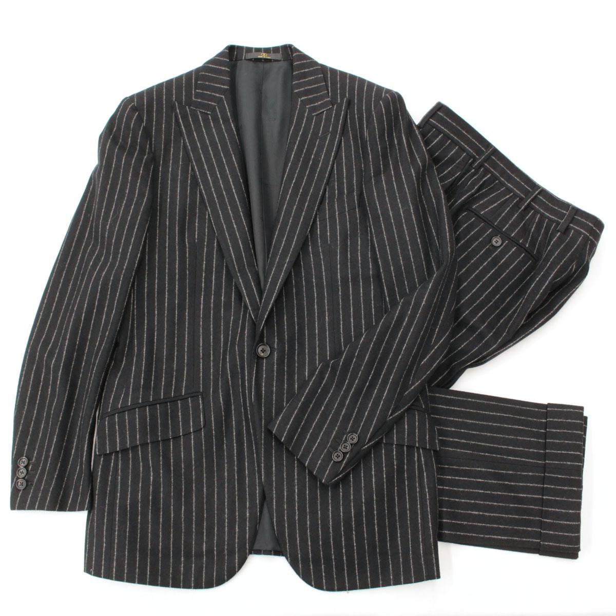 【中古】◆VALENTINO バレンチノ 1Bシングルスーツ サイズ48/8R◆ black /黒/ブラック/ストライプ/サイドベンツ/開き見せ/メンズ/セットアップ