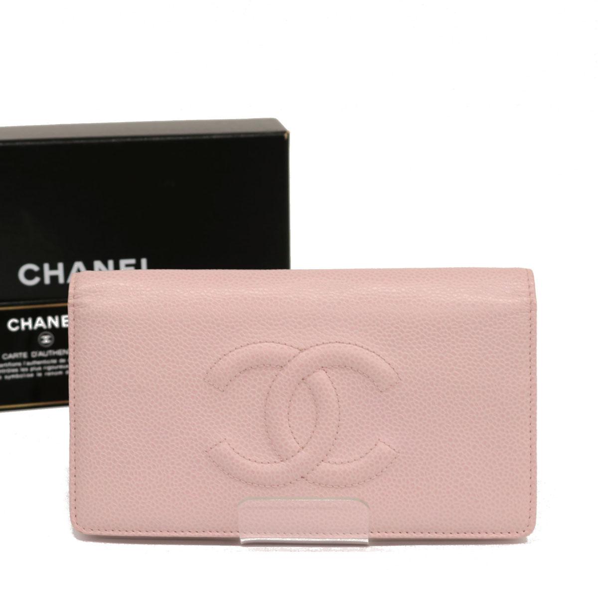 ◆CHANEL シャネル ビッグ ココマーク キャビアスキン 二つ折り長財布◆ pink /ピンク/レディース/小物/レザー/Gカード・箱付き:リサイクル ティファナ