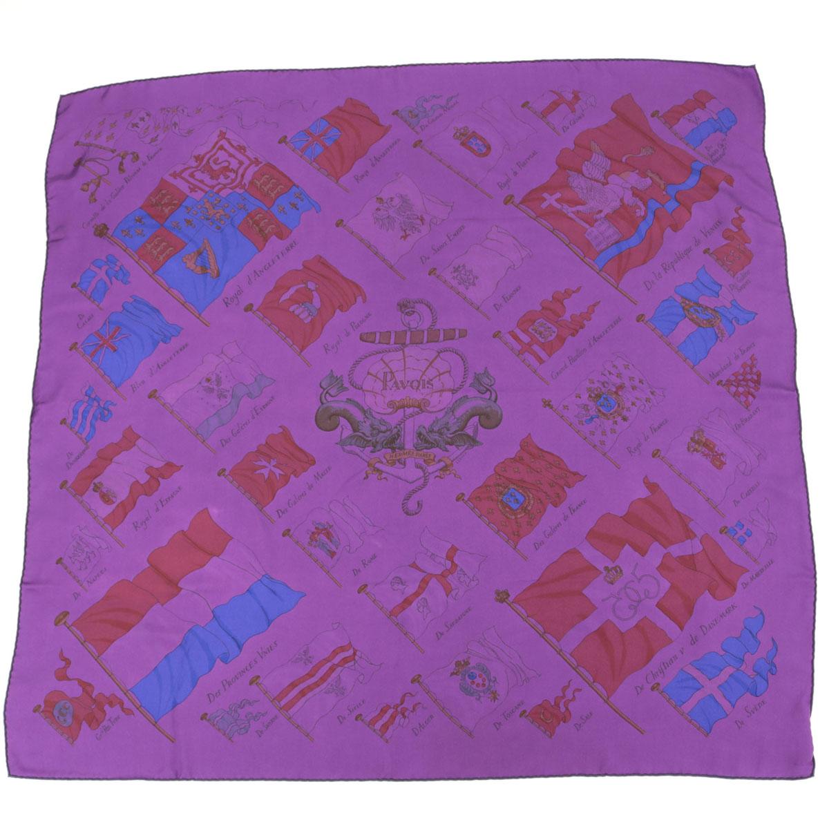 【中古】◆HERMES エルメス カレ90 シルク100% スカーフ 『船旗』 PAVOIS◆ purple /紫/パープル/SURTEINT DIP DYE/レディース/小物/フラッグ