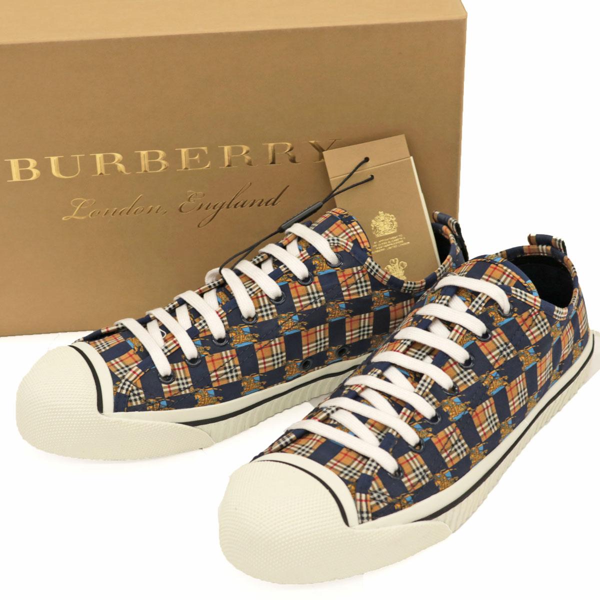 未使用品◆BURBERRY LONDON バーバリー ロンドン KINGLY LOW ノバチェック スニーカー サイズ41.5◆ ネイビー/キャンバス/メンズ/靴