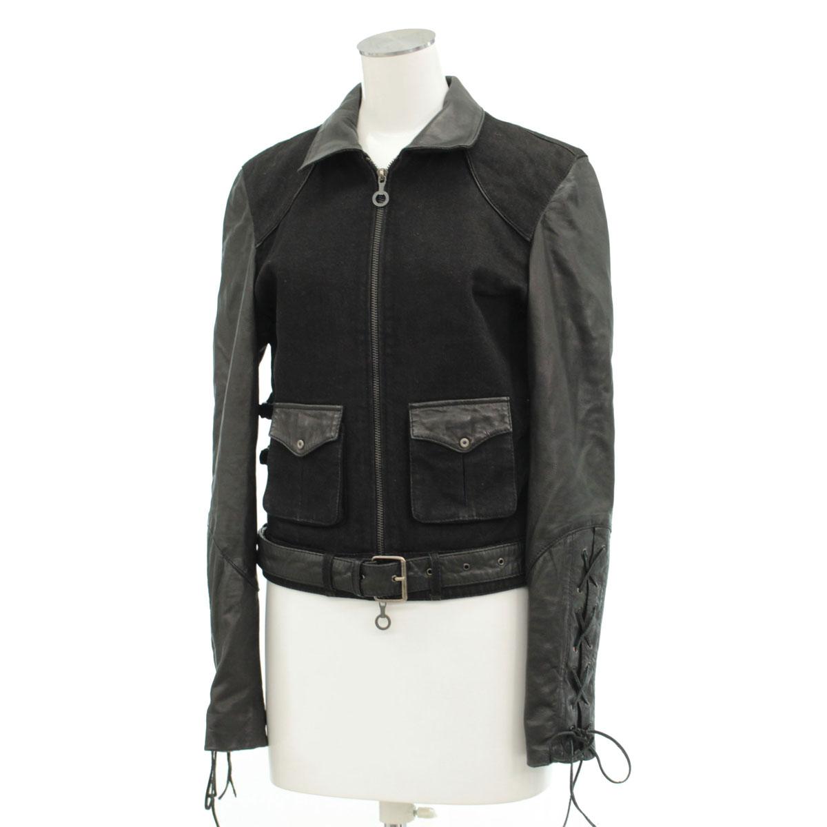 【中古】◆ディーゼルブラックゴールド ライダースジャケット Sサイズ◆ black /黒/ブラック/レザー/DIESEL BlackGold/レディース/アウター