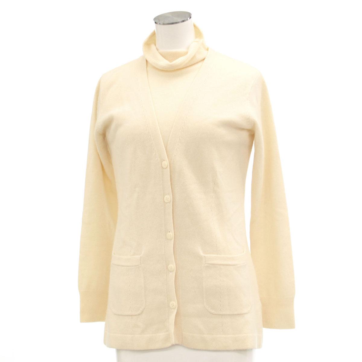 【中古】◆ランバンコレクション アンサンブルニット サイズ38◆ white /白/ホワイト/カシミヤ100%/イタリア製糸使用/レディース/トップス