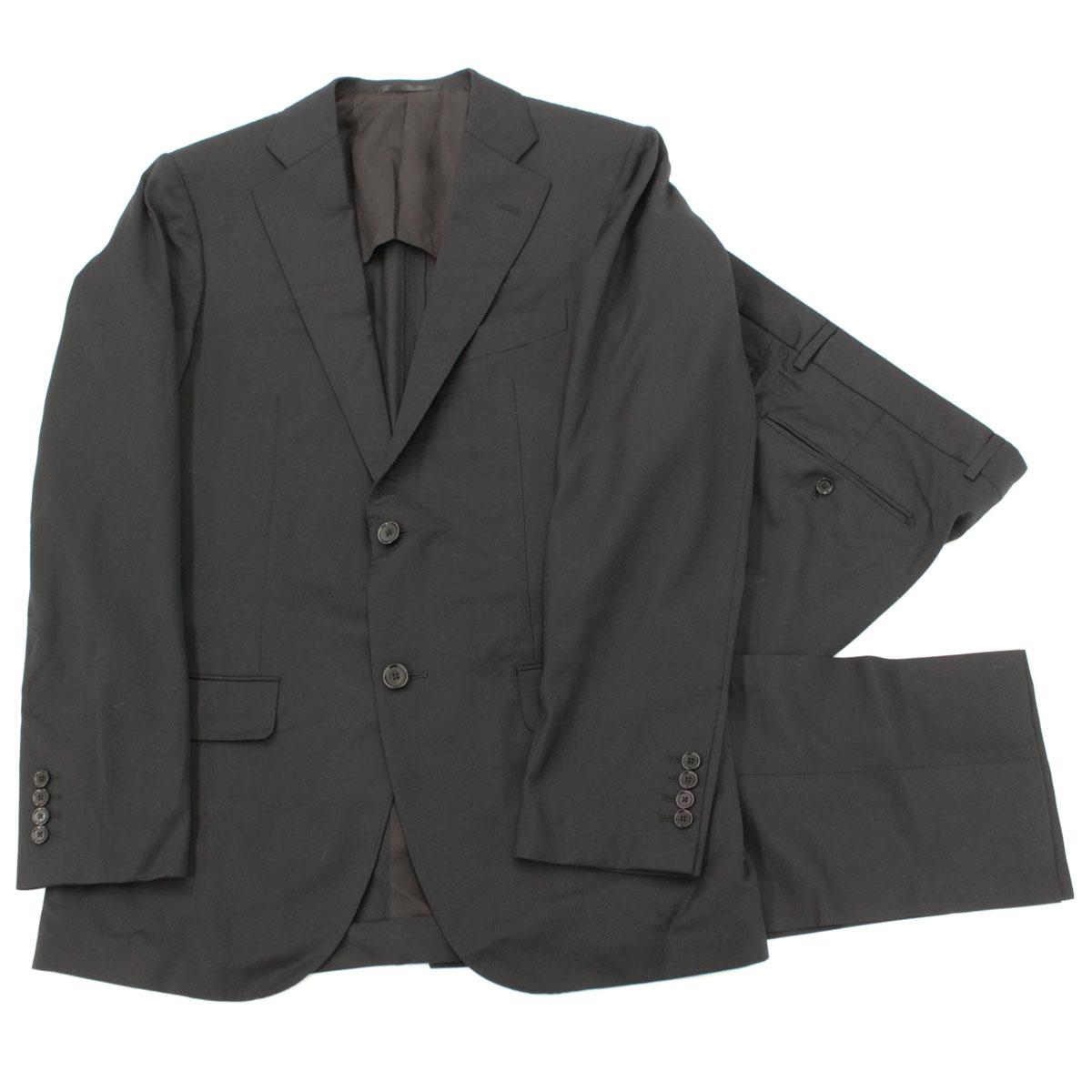 【中古】良好◆TOMORROWLAND トゥモローランド エルメネジルドゼニア生地 2Bシングルスーツ サイズ50◆ ブラック/無地/ウール/メンズ/セットアップ