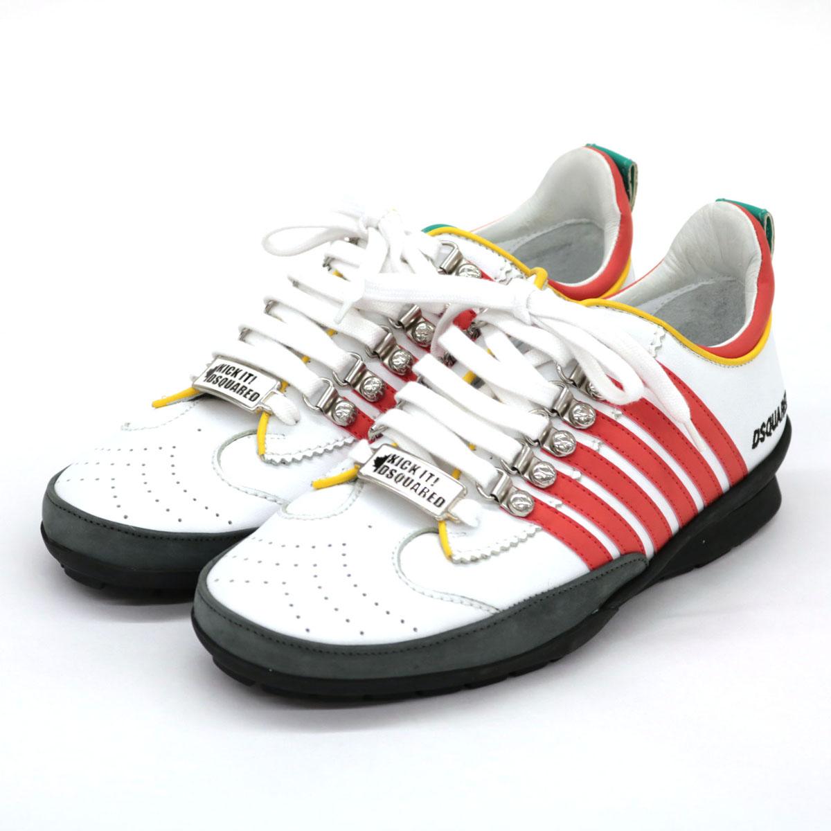 【中古】美品◆Dsquared2 ディースクエアード レザースニーカー サイズ40◆ マルチカラー/ホワイト×レッド×グリーン/KICKIT!プレート/メンズ/靴