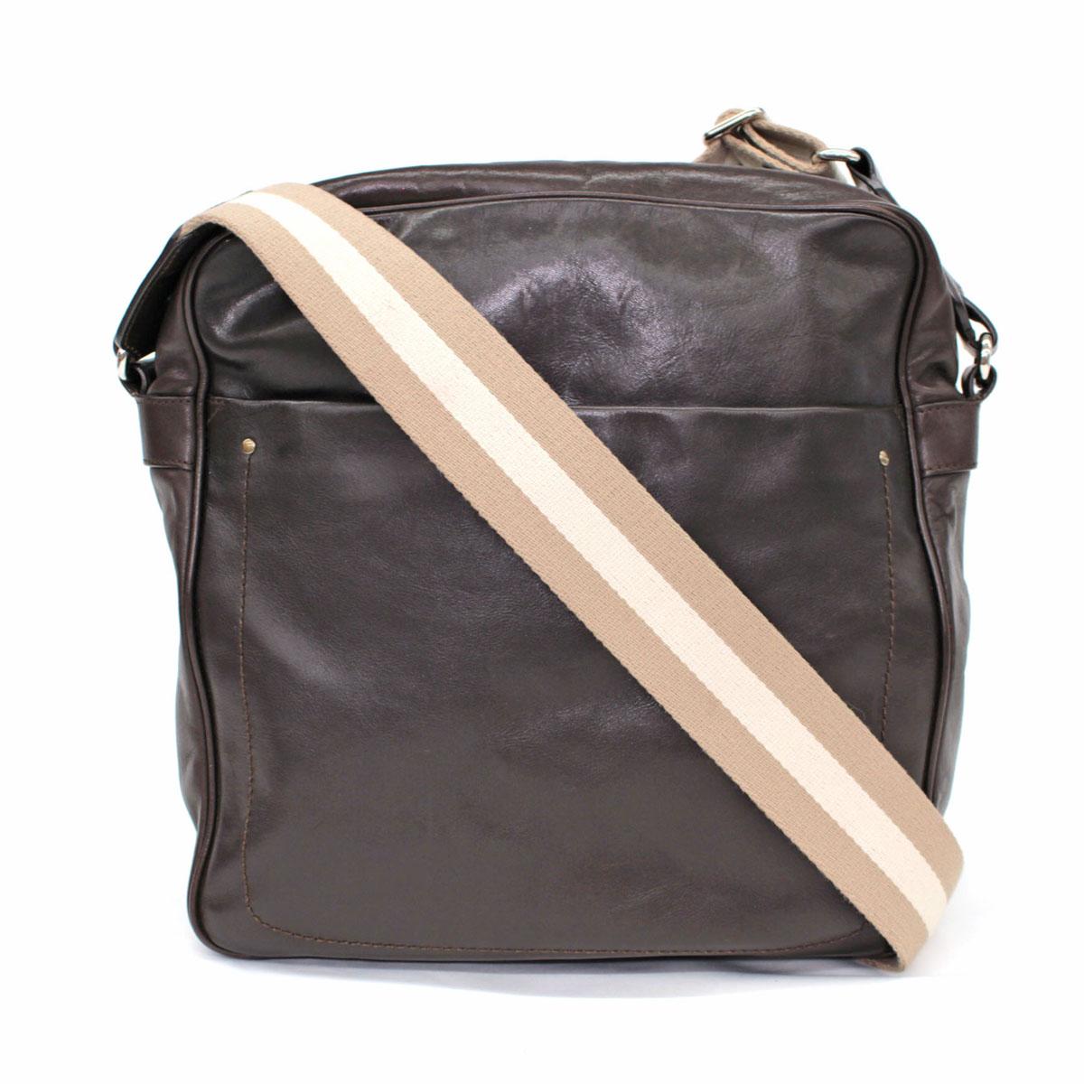 【中古】◆BALLY バリー スイス製 レザー ロングショルダーバッグ◆ ダークブラウン/肩掛け/斜め掛け/メンズ/鞄