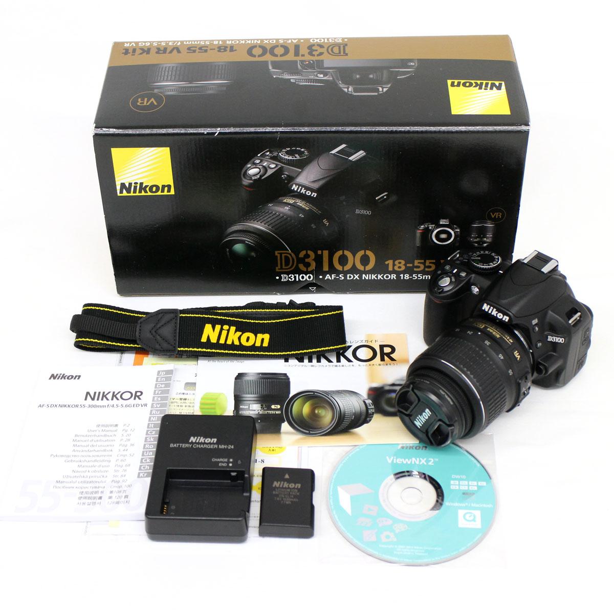【中古】◆ニコン Nikon D3100 レンズ18-55mm VR kit デジタル一眼レフカメラ ◆ ボディキャップ無し 動作確認済