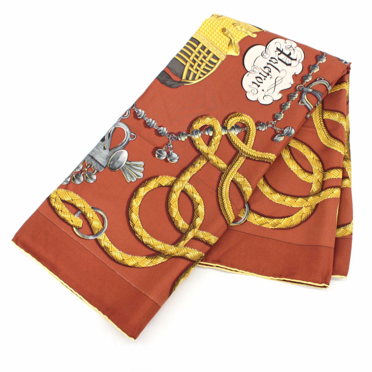 【中古】◆HERMES エルメス カレ90 スカーフ Palefroi◆ brown /茶/ブラウン/レディース/服飾小物