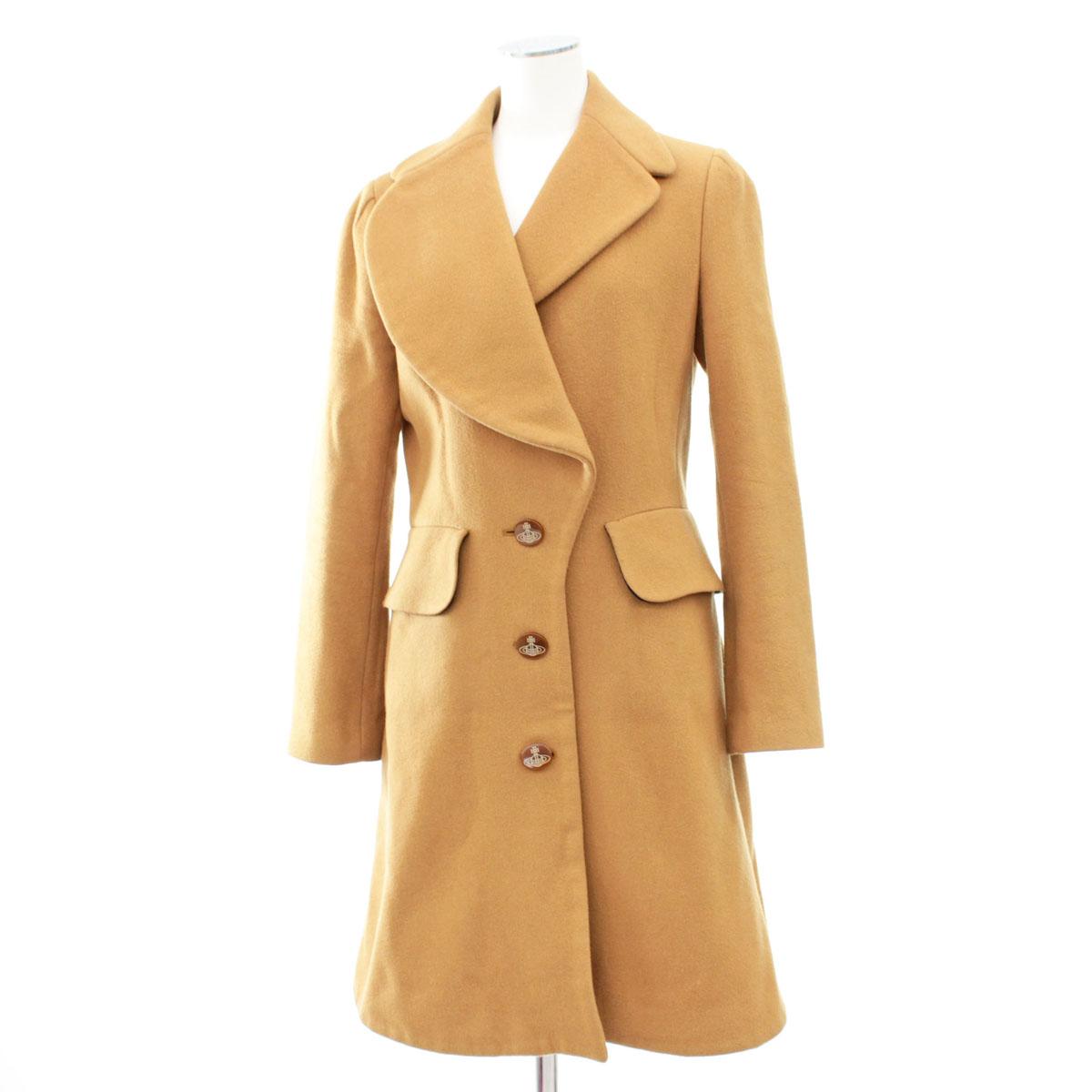 【中古】◆Vivienne Westwood ヴィヴィアンウェストウッドレッドレーベル デザインコート サイズ3◆ キャメル/オーヴボタン/レディース/アウター