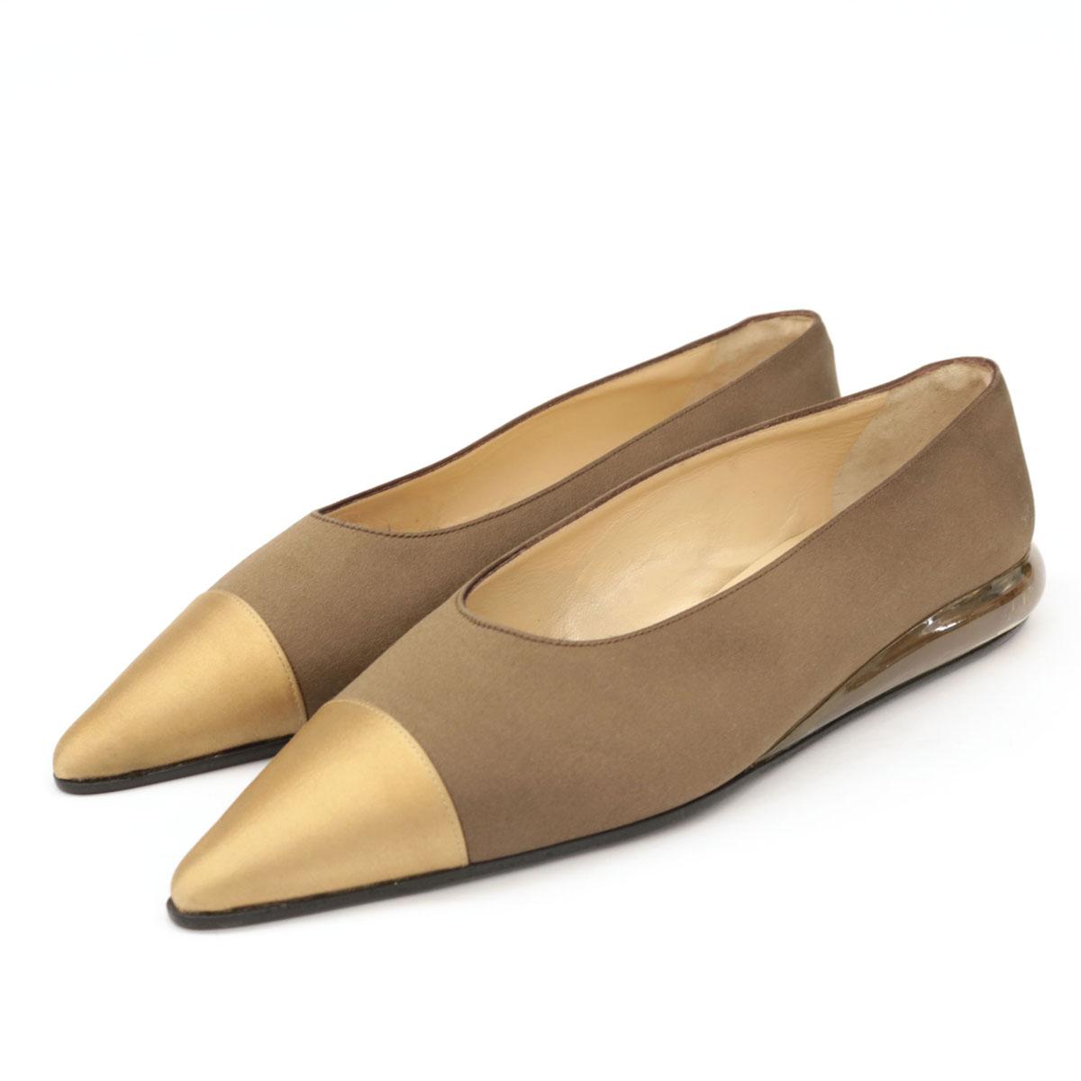 【中古】美品◆CHANEL シャネル ポインテッド トゥ フラットパンプス サイズ37◆ ブラウン×ゴールド/サテン/バイカラー/ローヒール/レディース/靴
