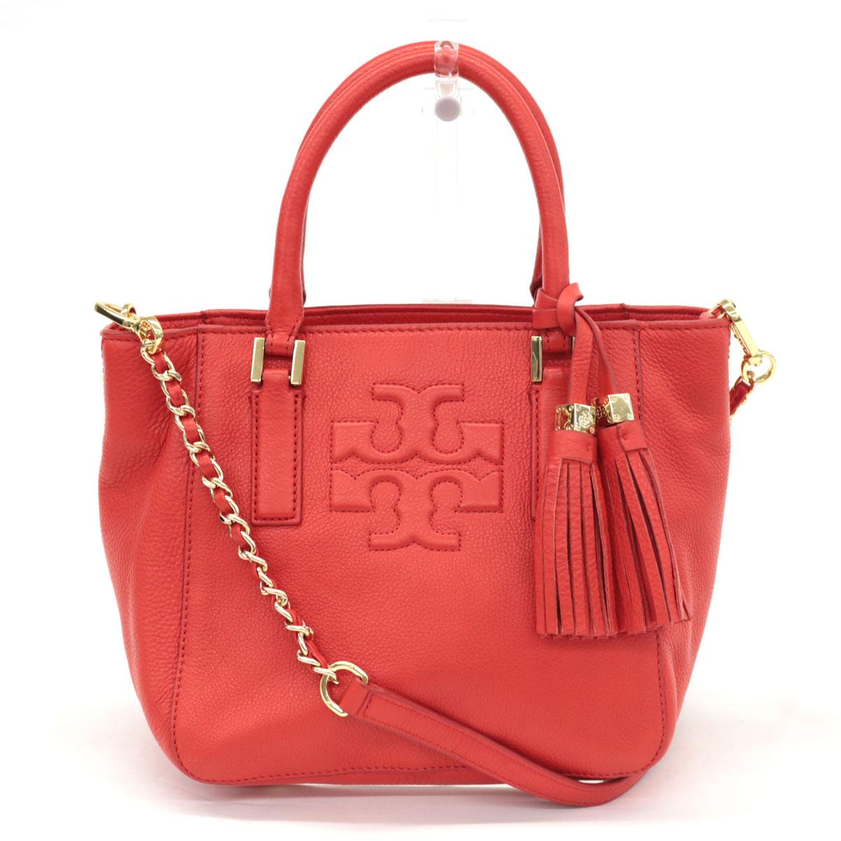 【中古】良好◆TORYBURCH トリーバーチ 2WAY レザーハンドバッグ◆ red /赤/レッド/ショルダー/ロゴ/斜め掛け/レディース/鞄