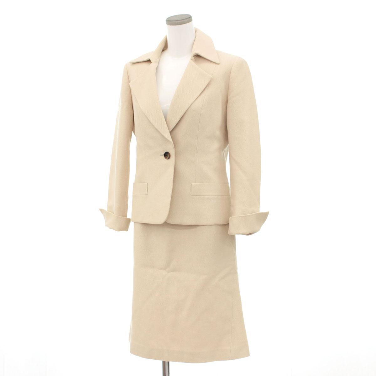 【中古】◆BURBERRY LONDON バーバリーロンドン スカートスーツ サイズ42◆ beige /ベージュ/入学式/卒業式/コットン100%/レディース/セットアップ