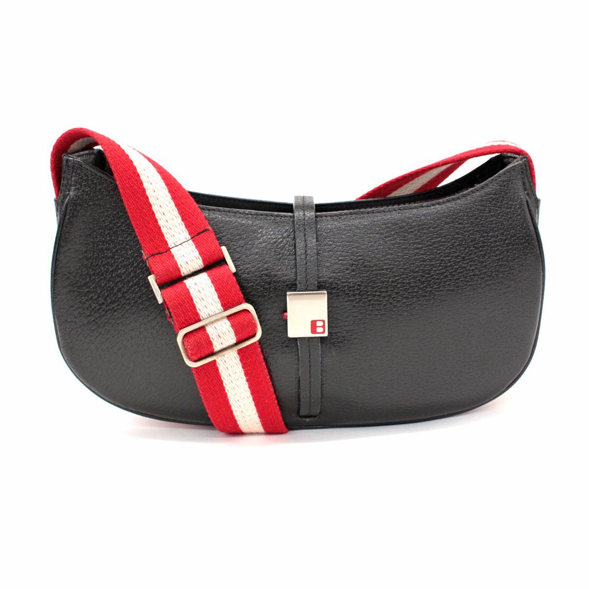 【中古】◆BALLY バリー ワンショルダーバッグ◆ black /黒/ブラック/レザー/肩掛け/レディース/鞄