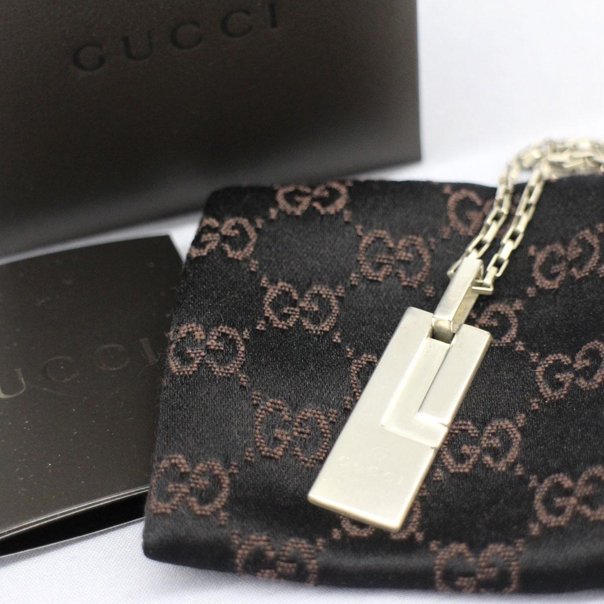 【中古】◆GUCCI グッチ ネックレス Gプレート silver /シルバー 925 ◆ アクセサリー 服飾小物