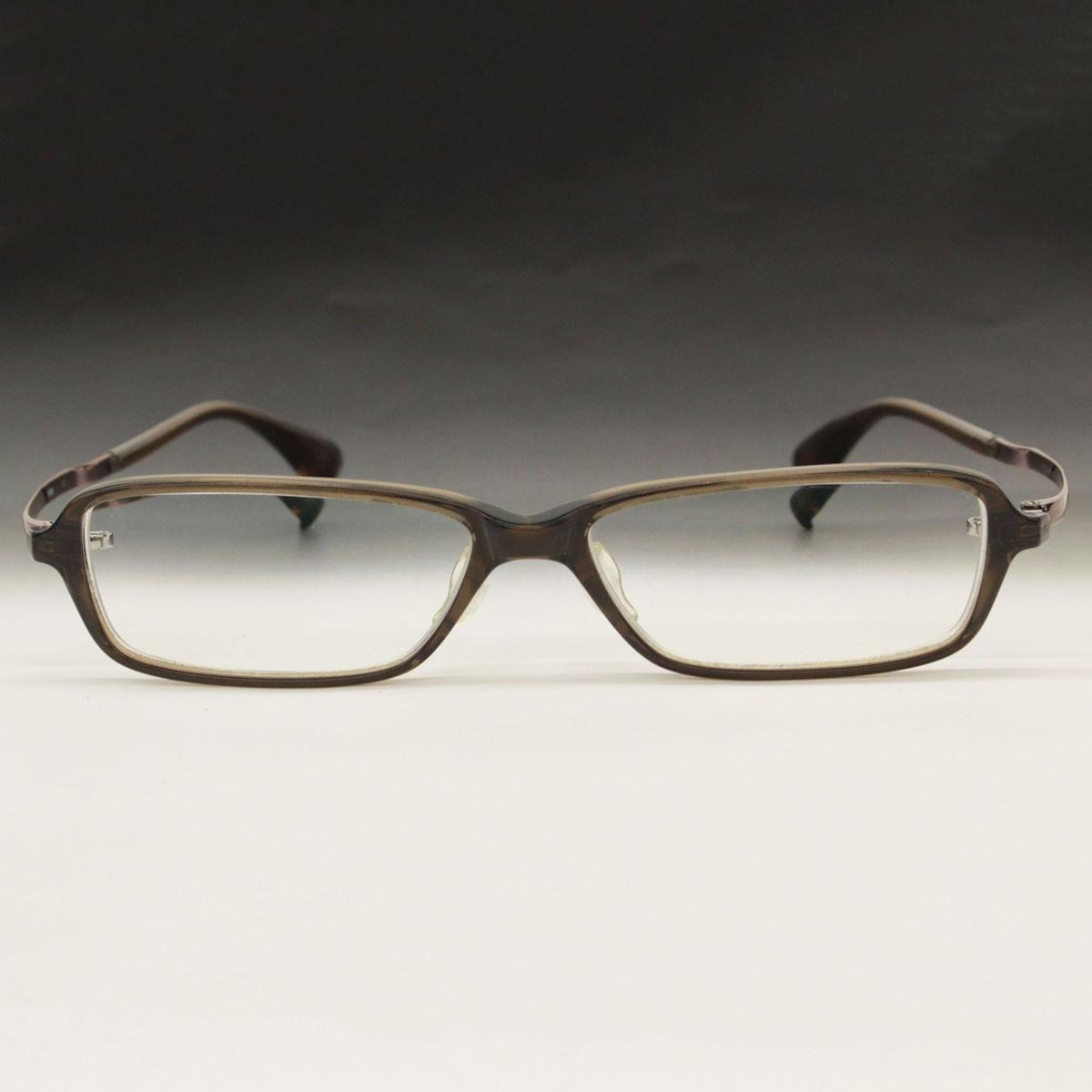 【中古】◆999.9 フォーナインズ チタンフレーム眼鏡 NPM-06 ケース付き 55□14-138◆ brown /茶/ブラウン/メンズ/メガネ/フレーム
