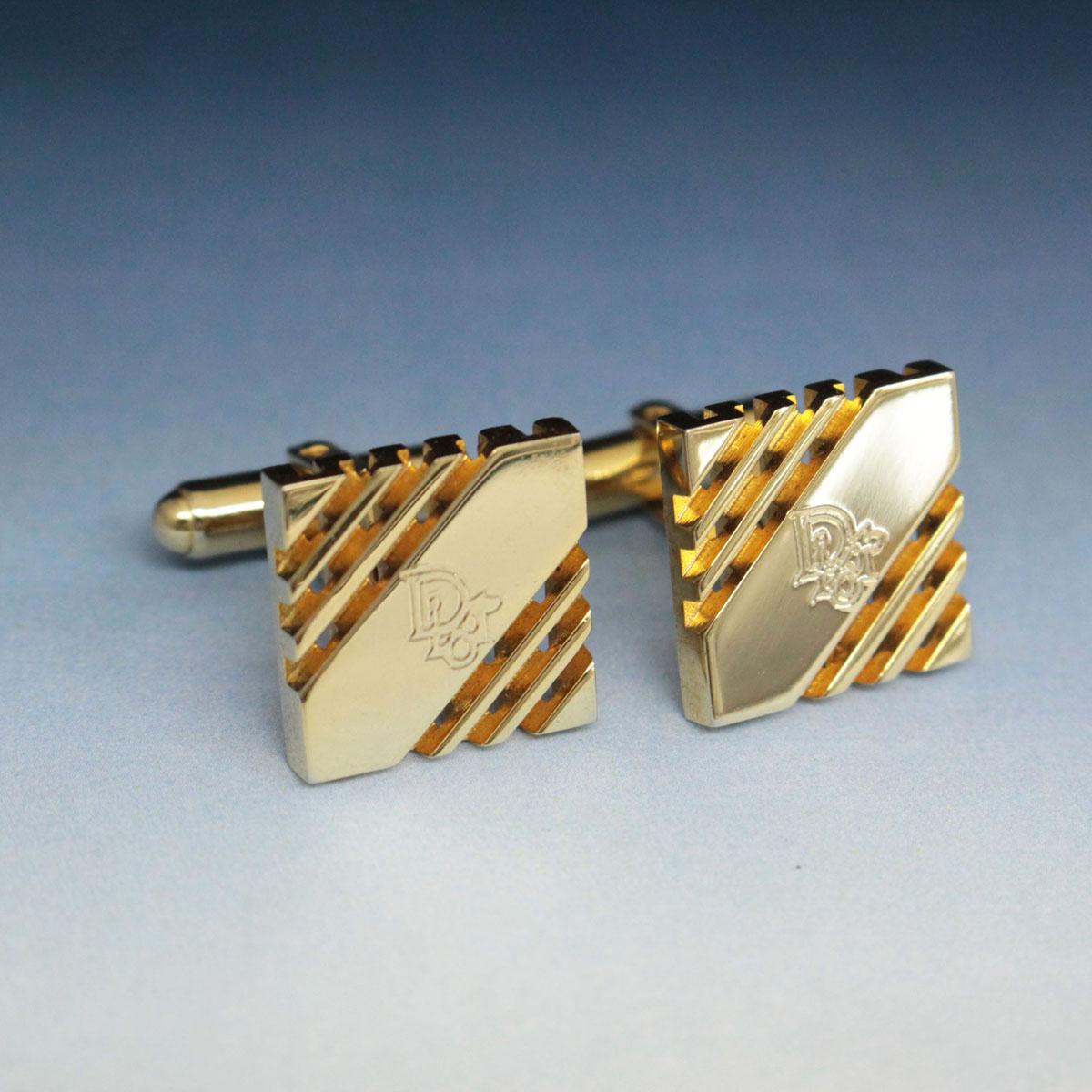 中古 Christian Dior クリスチャンディオール アイテム勢ぞろい 無料 ブランドロゴ カフス ビジネス小物 スクエア ゴールド メンズ gold スーツ小物