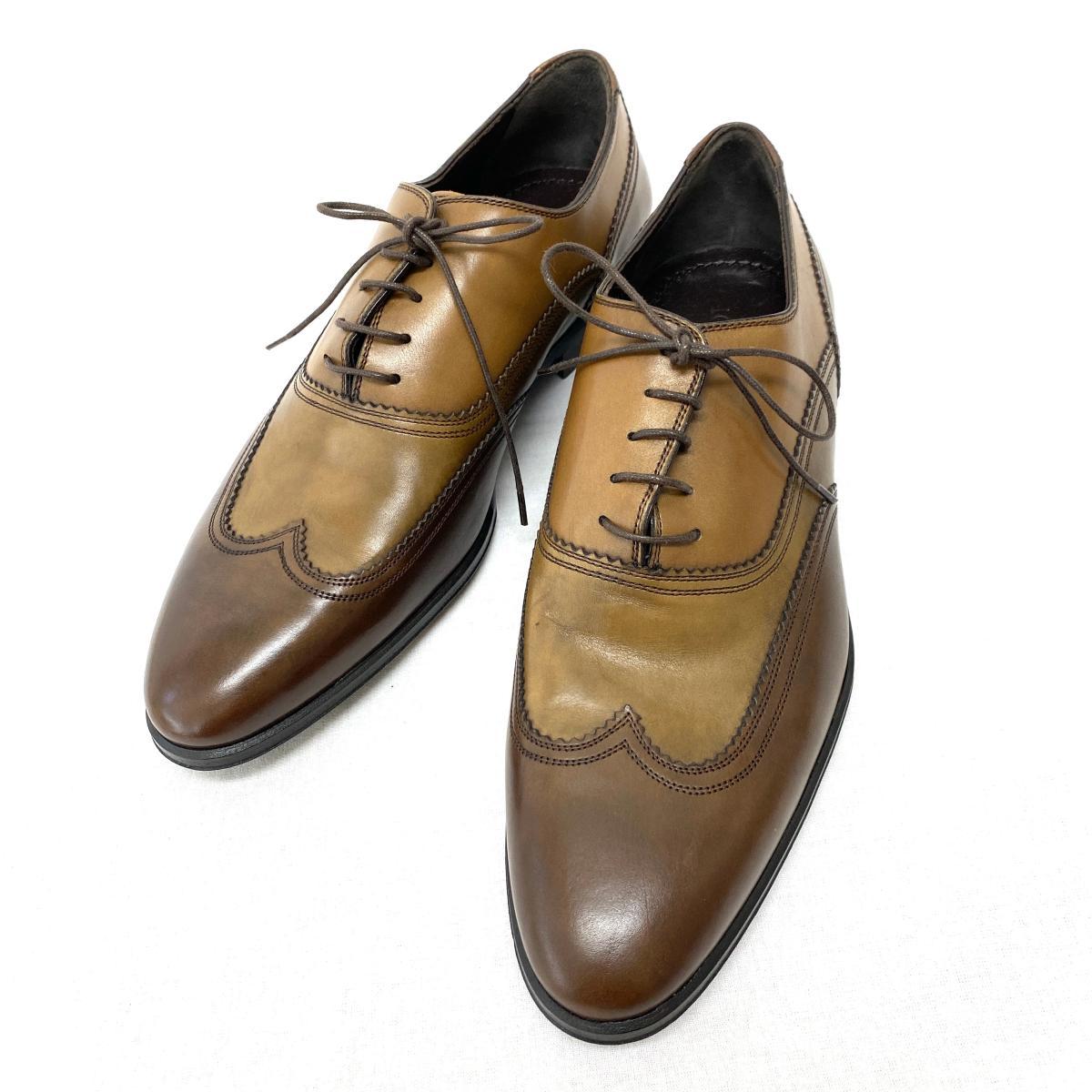 ◆LOUIS VUITTON ルイヴィトン レザーシューズ サイズ 6 1/2◆ウィングチップ/ローファー/brown /茶/ブラウン/メンズ/革靴/KI1004【中古】