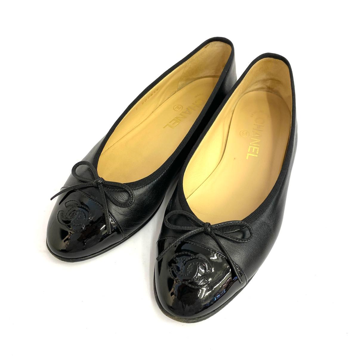 ◆CHANEL シャネル ココマーク フラットパンプス サイズ38C(24.0cm相当)◆black /黒/ブラック/レディース/シューズ/靴/KI1004【中古】