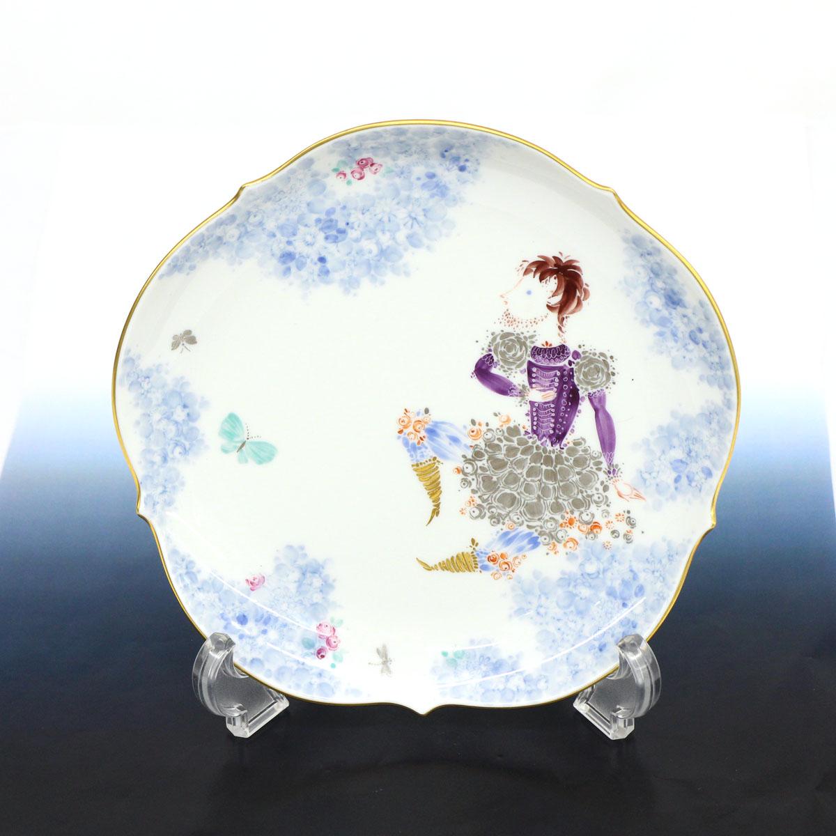 ◆MEISSEN マイセン プレート ミッドサマーナイト・ドリーム(真夏の夜の夢)18cm◆ ホワイト H.ヴェルナーデザイン 金彩 皿 食器【中古】