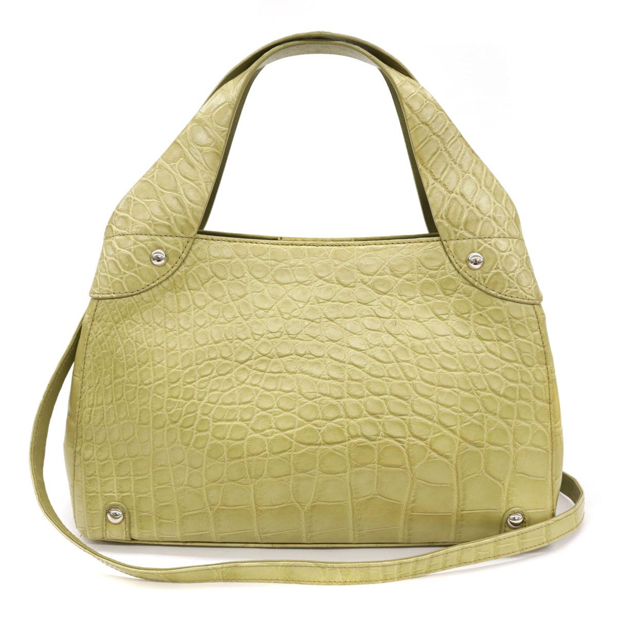 ◆クロコダイル 2WAYバッグ◆ green /緑/イエローグリーン/ハンド/ショルダー/革/イタリア製/レディース/鞄【中古】