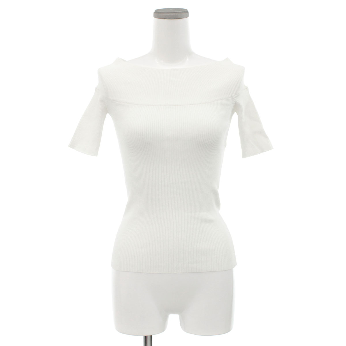 未使用品 Sov. DOUBLE STANDARD 登場大人気アイテム CLOTHING ソブ オフショルダーリブニット サイズ38 タイト メーカー直売 半袖 中古 トップス レディース white 白 ホワイト