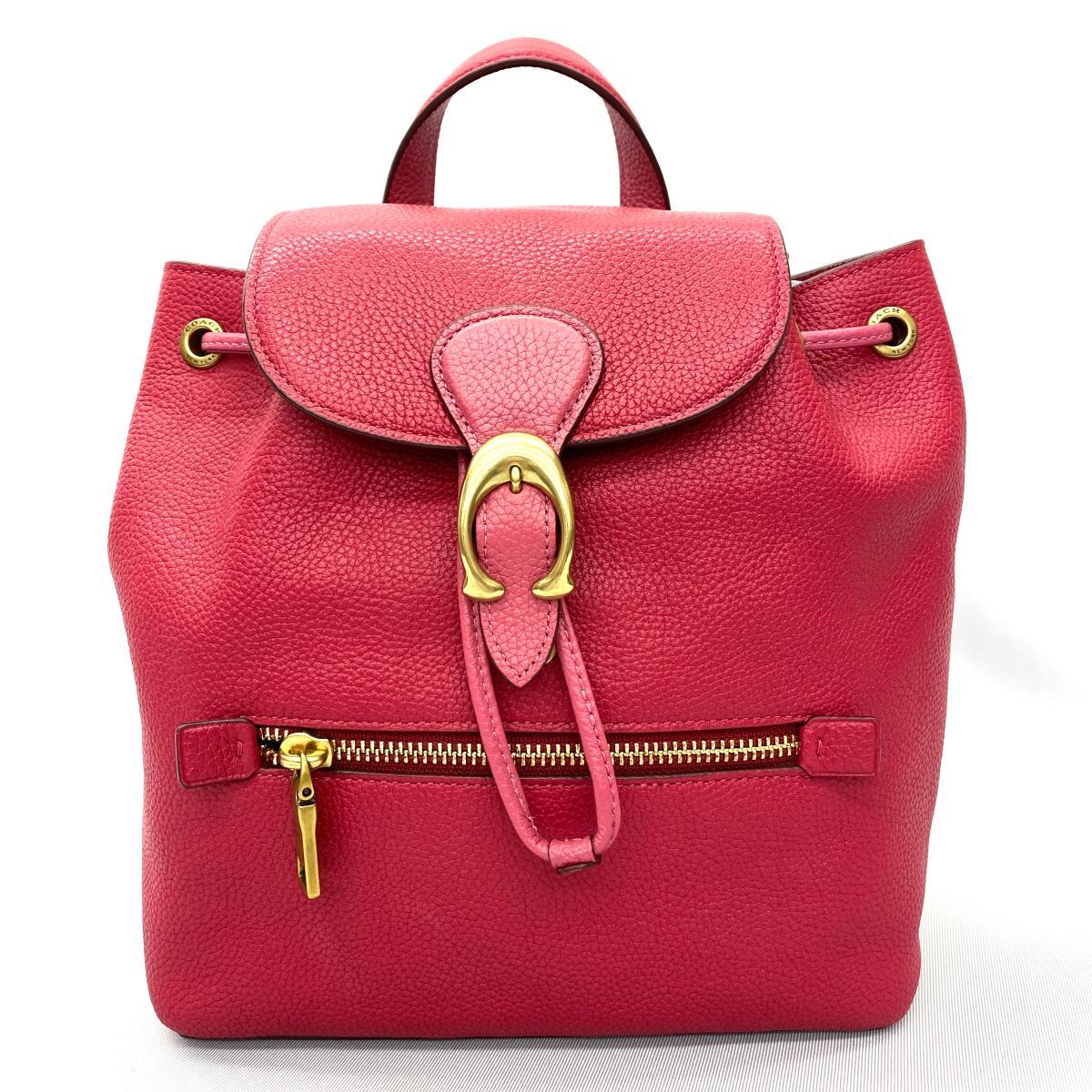 良好 COACH コーチ レザーリュック pink 贈答品 永遠の定番モデル ピンク レディース バッグ 鞄 中古 皮革 KA1011