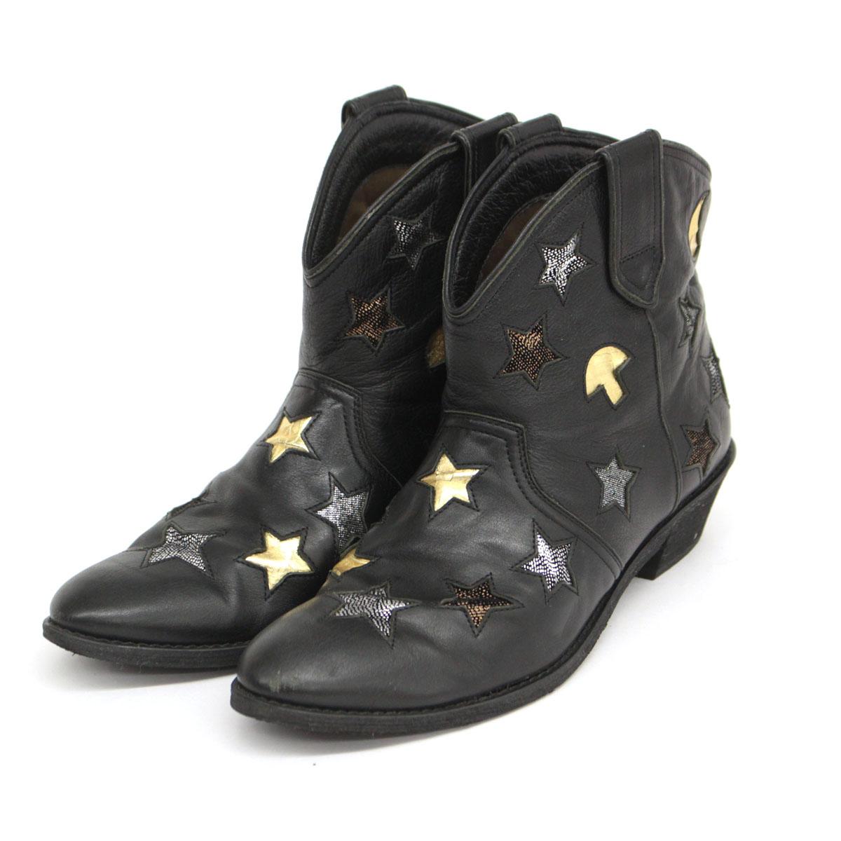 tsumori chisato ツモリチサト 星柄ショートブーツ サイズ24 1 2 black ヒール レザー 返品送料無料 当店限定販売 中古 ブラック 靴 ウエスタン レディース 黒