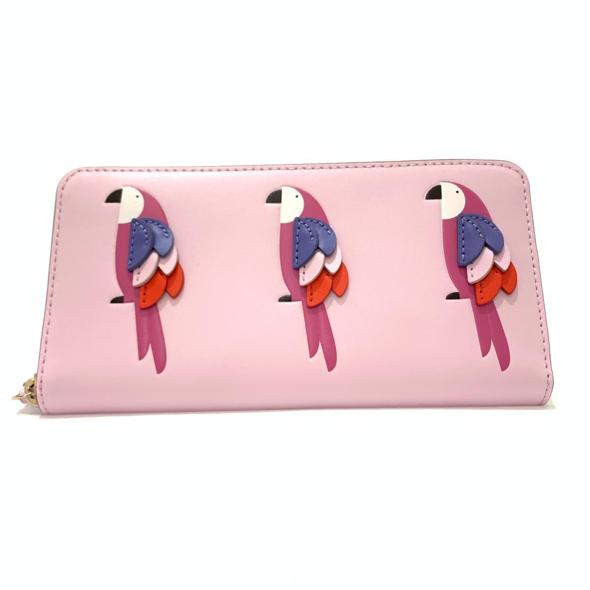 新品同様 kate spade ケイトスペード 交換無料 ラウンドファスナー長財布 ショッピング pink ピンク 服飾小物 中古 レディース ウォレット SI1015 レザー インコ