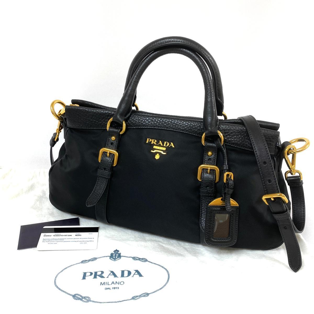 スーパーSALE セール期間限定 良好 PRADA プラダ BN2032 2WAYバッグ black 2020新作 黒 ブラック レディース MU1005 ナイロン×レザー 中古 ハンドバッグ 鞄 ショルダー