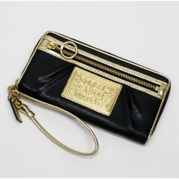 b4912ef2 COACH coach poppy wallet zip black x Gold ladies 10P07Nov15