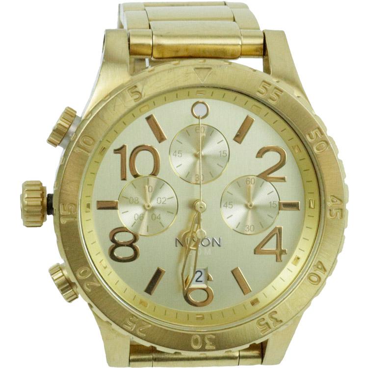 新作多数 送料無料 男性 時計 WATCH ウォッチ アウトレット 中古 NIXON ニクソン 48-20 THE メンズ 腕時計 クロノグラフ CHRONO クオーツ ゴールド