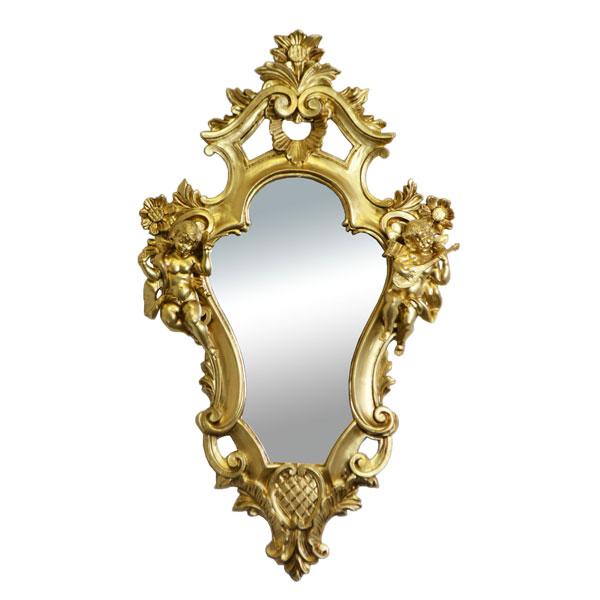 鏡 壁掛け おしゃれ イタリア製 ゴールド 天使 姫系 雑貨 かわいい 84453 上品 ウォールミラー 送料無料 イタリー