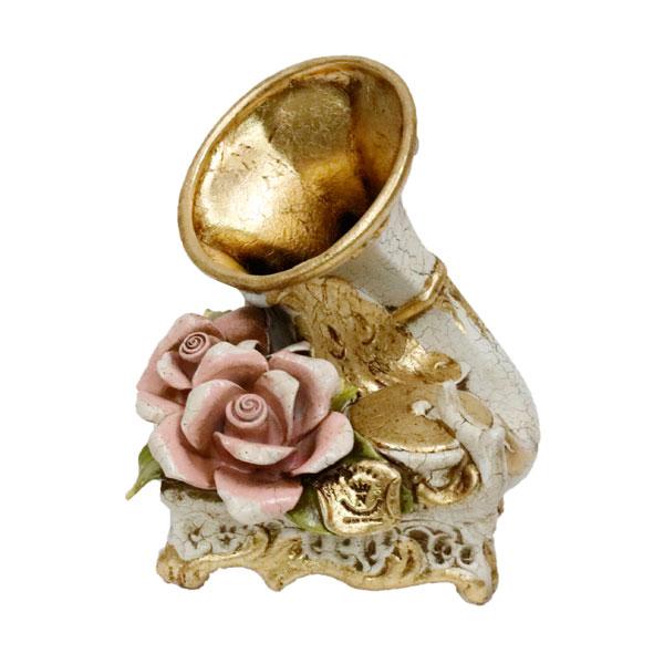 置物 おしゃれ 蓄音機 イタリー 薔薇柄 姫系 イタリア オブジェ 花柄 インテリア 陶花 低価格化 ヨーロピアン 公式ショップ 陶磁器 81508