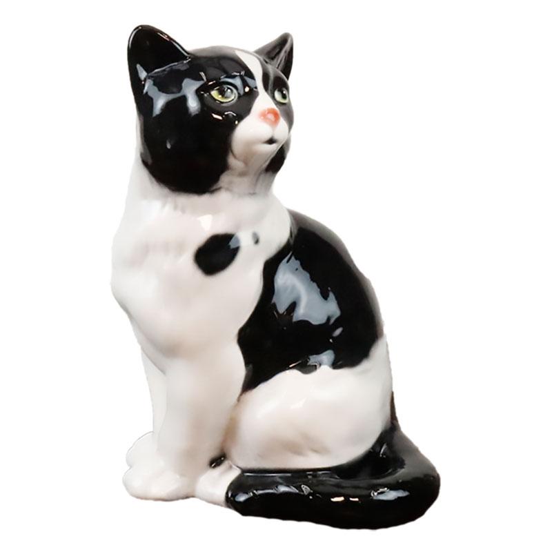 猫 置物 陶器 W30×D16×H18cm イタリア製 41168