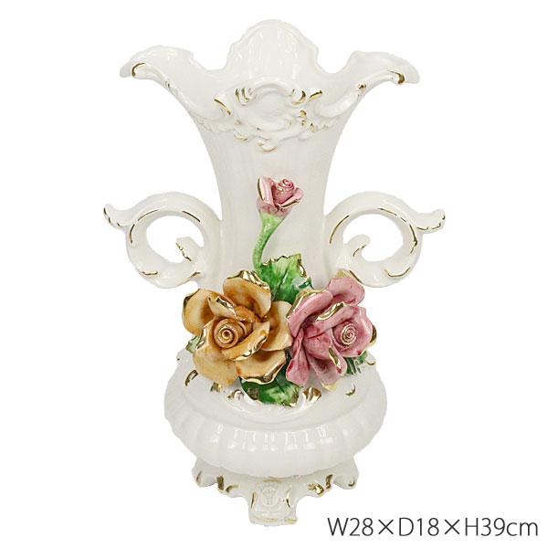 陶花 イタリア製 置物 ベース ゴールドライン 花柄 薔薇雑貨 W28×D18×H39cm 81408