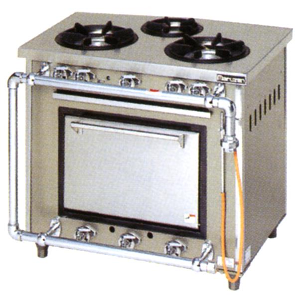 新品:マルゼン ガスレンジ スタンダードシリーズ幅900mm 3口コンロ+1オーブン MGR-096DS