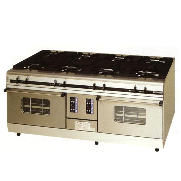新品:マルゼン ガスレンジ パワークックシリーズ幅1800mm 8口コンロ+2オーブン(両面仕様) MGRX-1812E
