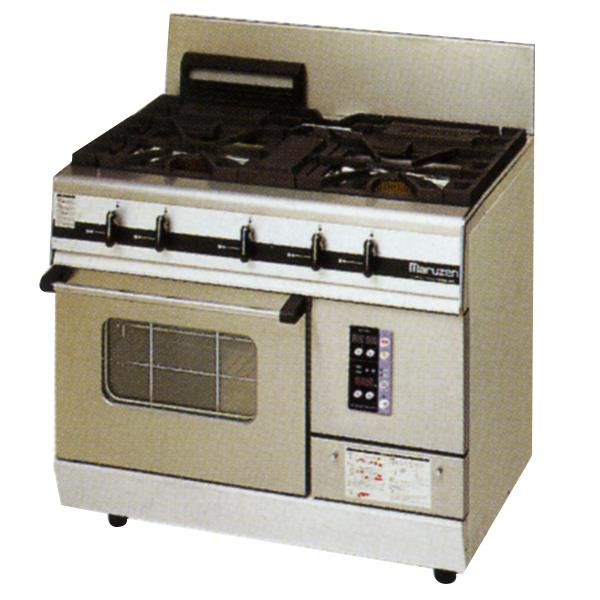 新品:マルゼン ガスレンジ パワークックシリーズ幅900mm 3口コンロ+1オーブン MGRXU-096E