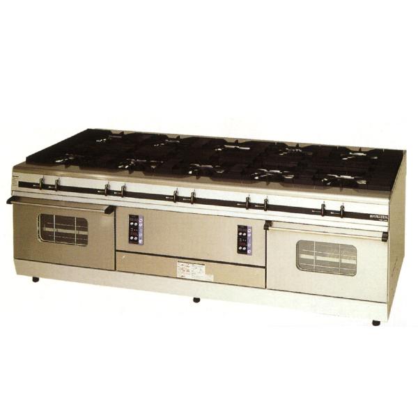 新品:マルゼン ガスレンジ パワークックシリーズ幅2400mm 10口コンロ+2オーブン(両面使用) MGRX-2412E