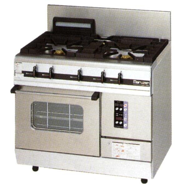 新品:マルゼン ガスレンジ パワークックシリーズ幅900mm 3口コンロ+1オーブン MGRXS-096E