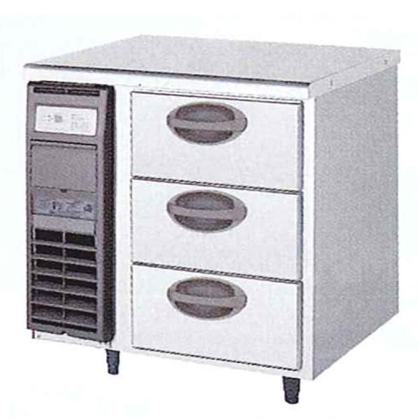 新品:福島工業(フクシマ)横型 ドロワーテーブル冷蔵庫 3段幅755×奥行750×高さ800(mm)YDW-080RM2