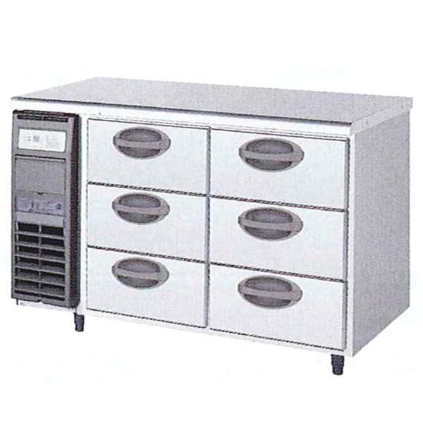新品:福島工業(フクシマ)横型 ドロワーテーブル冷蔵庫 3段幅1200×奥行750×高さ800(mm)YDW-120RM2