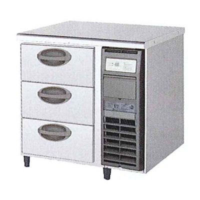 新品 福島工業(フクシマ)横型 ドロワーテーブル冷凍庫 3段 ユニット右置き仕様幅755×奥行750×高さ800(mm)YDW-083FM2-R