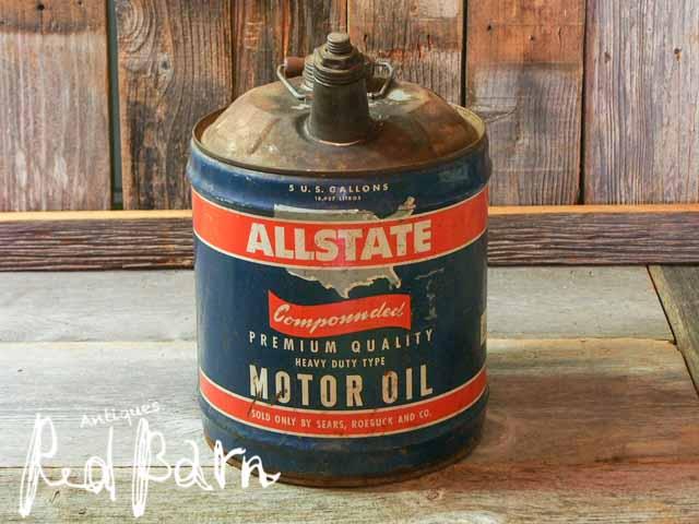 【税抜合計6000円以上お買い上げで20%OFF】 ヴィンテージ USA オイル缶 ALLSTATE【再入荷2回目】