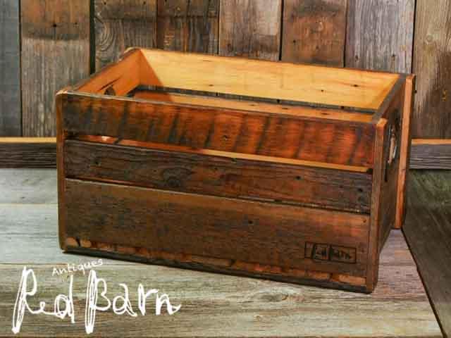 【商品合計税込3980円で送料無料】 レッドバーン オリジナル 古材ボックス ヴィンテージ蹄鉄付き (木箱)