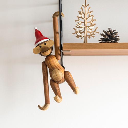 Monkey Small Size Santa Cap Kay Bojesen Monkey Authorized Agent Product Wooden Toy North European Miscellaneous Goods Toy Gift Present Baby Gift
