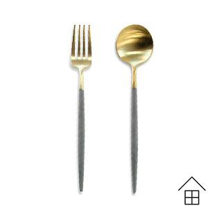 デザートスプーン、デザートフォークの2本セット Cutipol GOA(クチポール ゴア)グレー×ゴールドデザート2本セット【メール便可 3セットまで】【カトラリー】(オシャレ お洒落 かわいい)