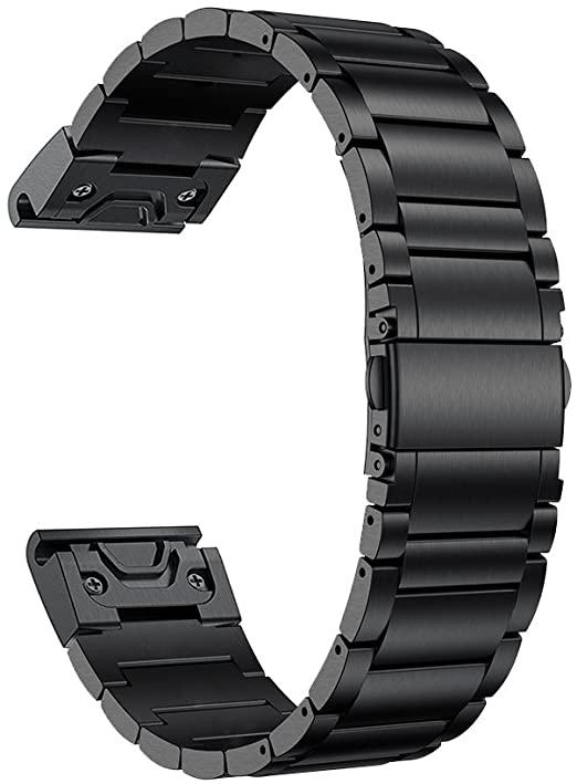 ポイント2倍 LDFAS チタンバンド Fenix 5 Plus対応 22mm チタンメタル 休み クイックリリリース 腕時計ベルト Plus 935 ブラック 対応機種: スマートウォッチ イージーフィット Forerunner 大人気!