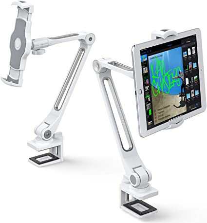 ポイント2倍 AboveTEK 頑丈なiPad スタンド ホルダー クリップ式 ,アルミ製ロングアーム iPadタブレットマウント スマホ iPhone iP mini 回転式 iPad タブレットpcスタンド スマートフォン角度調整でき4-11 2020モデル 360 感謝価格