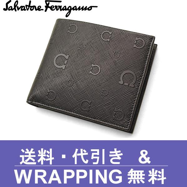 【Ferragamo】フェラガモ 二つ折り財布(小銭入れ付)ブラック ガンチー二 66 9296 01 0515920【送料無料】