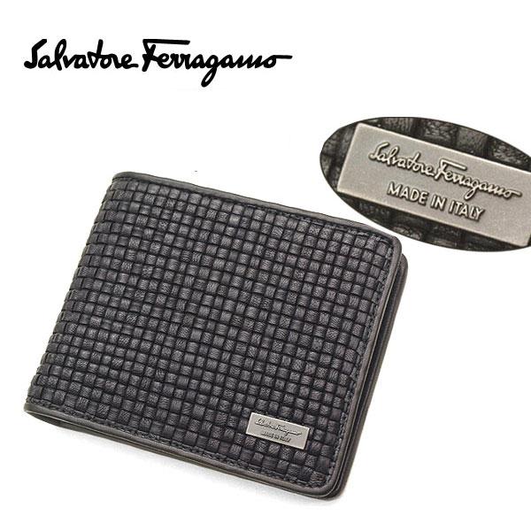 【Ferragamo】フェラガモ 二つ折り財布(小銭入れ付)ブラック 66 9437 01 0537549【送料無料】